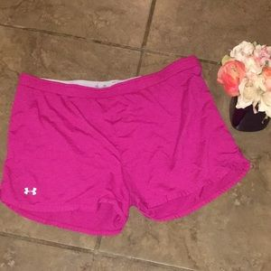 Pink under armour shorts size small
